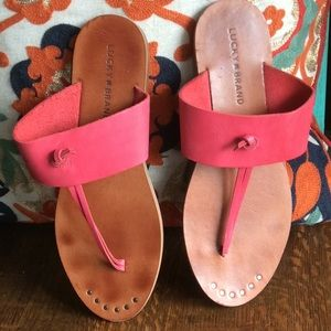 Lucky brand brown & pink slip on leather sandals